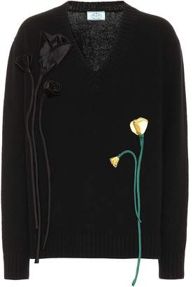 Prada Appliqued wool and cashmere sweater