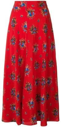 Ganni floral mid-calf skirt