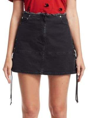 McQ Lace-Up Denim Mini Skirt