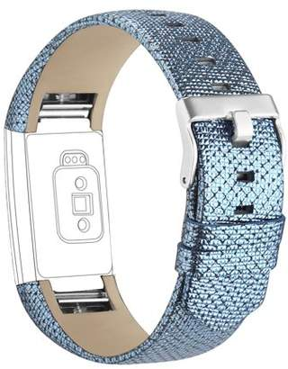 Fitbit iGK Charge 2 Bands Leather Adjustable Replacement Sport Strap Band for Charge 2 Heart Rate Fitness Wristband Blue-Bstyle