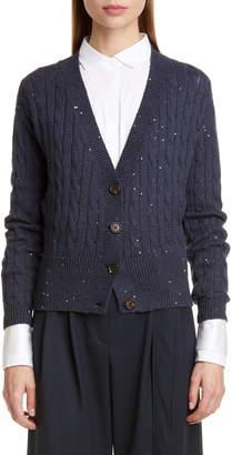 Brunello Cucinelli Sequin Cable Cashmere & Silk Cardigan