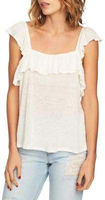 1 STATE 1.STATE Ruffle Squareneck Linen Top