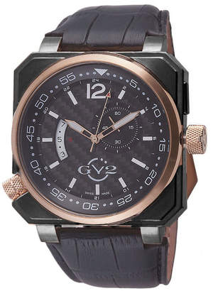 Xo Gv2 Men's Swiss Quartz Submarine Black Leather Strap Watch