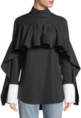 Monographie Button-Back Ruffle Long-Sleeve Shirt