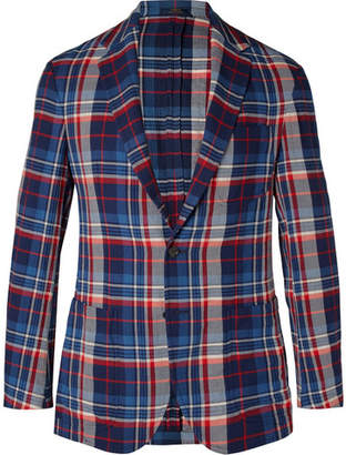 Polo Ralph Lauren Navy Morgan Slim-Fit Unstructured Checked Herringbone Stretch-Cotton Blazer
