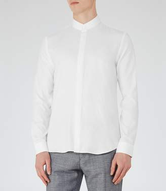 Reiss Prime Textured Grandad Collar Shirt