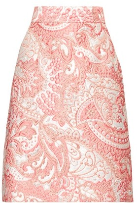 Dolce & Gabbana A Line Floral Brocade Knee Length Skirt - Womens - Pink White