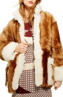 Topshop Contrast Genuine Shearling Jacket