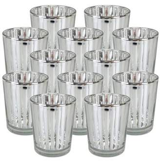 """Just Artifacts Mercury Glass Votive Candle Holder 2.75""""H (Set of 12, 2.75""""H, Striped Silver) - Mercury Glass Votive Tealight Candle Holders for Weddings, Parties and Home Decor"""