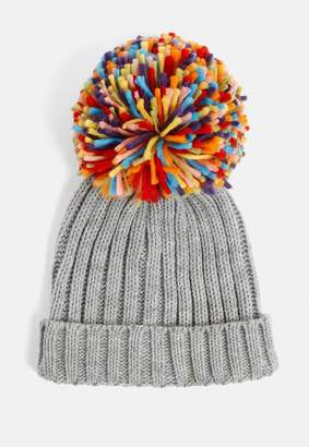 Missguided Grey Multi Pom Pom Ribbed Hat