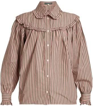 ALEXACHUNG Striped frill-trimmed cotton shirt
