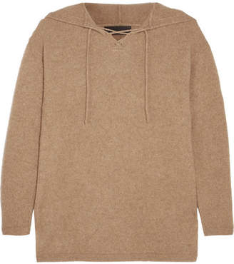 The Elder Statesman Heavy Hockey Lace-up Hooded Cashmere Sweater - Camel
