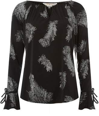 Dorothy Perkins Womens **Billie & Blossom Tall Black Feather Design Blouse