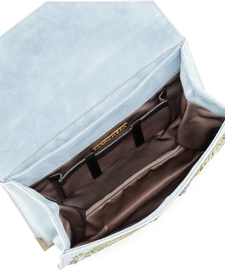 Marchesa Valentina Floral Embroidered Envelope Clutch Bag, Blue/Multi