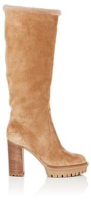 Gianvito Rossi Women's Suede & Shearling Knee Boots - Camel
