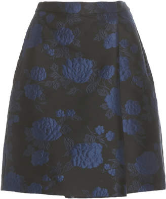 DELPOZO Pleated Floral-Print Jacquard Shorts