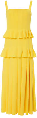 Carolina Herrera Pleated Tiered Midi Dress