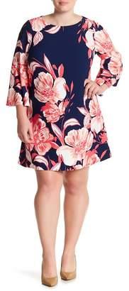 Eliza J Floral Bell Sleeve Shift Dress (Plus Size)
