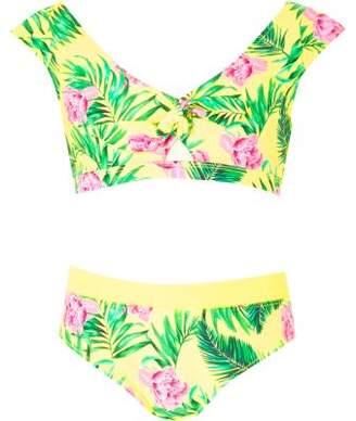 River Island Girls yellow crop tie front floral bikini