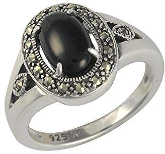 Esse Marcasite Sterling Silver Oval Black Onyx and Marcasite Art Deco Dress Ring kZSHvo