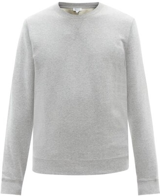 Sunspel Crew Neck Cotton Sweatshirt - Mens - Grey