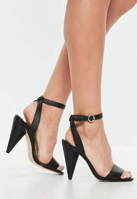 Missguided Black Cone Heeled Sandals