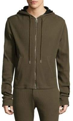 Helmut Lang Waffle-Knit Cotton Zip Up Hoodie