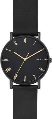 Skagen Signatur Leather Strap Watch, 40mm