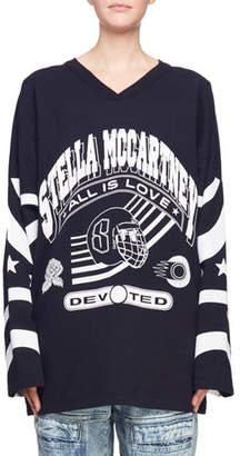 Stella McCartney Long-Sleeve V-Neck Graphic-Print Hockey Jersey