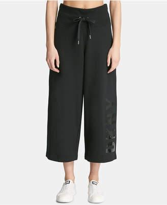 DKNY Sport High-Rise Logo Cropped Wide-Leg Pants