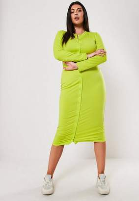 Missguided Plus Size Lime Button Front Bodycon Midi Dress