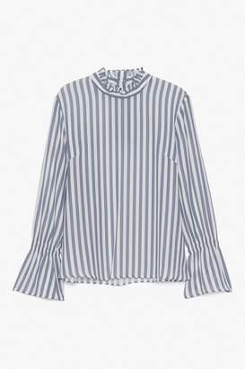 Genuine People Silk Striped Bell Sleeve Blouse