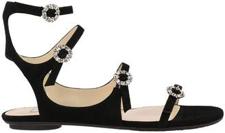90b9cd4cf84c Jimmy Choo Flat Sandals Flat Sandals Naia In Suede With Jewel Buckles