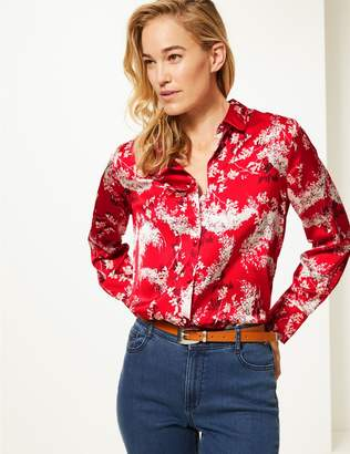 Marks and Spencer Floral Print Satin Long Sleeve Shirt