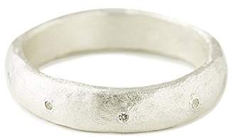 Cherry Brown Blanche 1000 Silver White Diamond Thick Band Ring - Size J
