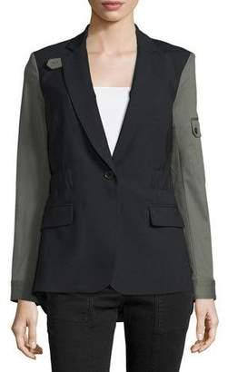 Veronica Beard Colorblock Wool-Blend Jacket, Black/Army $645 thestylecure.com