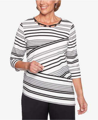 Alfred Dunner Finishing Touches Embellished Striped Top