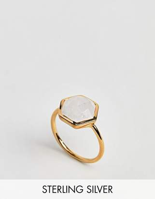 Carrie Elizabeth Semi Precious Moonstone Hexagon Ring