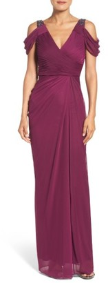 Women's Adrianna Papell Cold Shoulder Gown $189 thestylecure.com