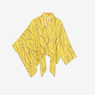 Balenciaga Draped Vareuse in yellow chains typo jacquard silk