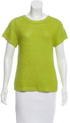 Zac Posen Rib Knit Short Sleeve Sweater