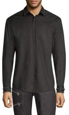 Versace Camicia City Motivo Borchie Spikes Button-Down Shirt