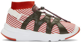 Alexander McQueen Red and White Knit Sock Sneakers