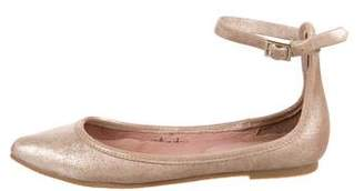 Joie Metallic Ankle Strap Flats