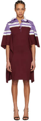 Y/Project Violet and Burgundy Striped Polo Dress