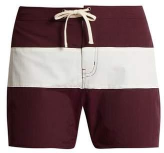 Saturdays NYC Grant Colour Block Swim Shorts - Mens - Burgundy Multi