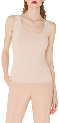 Akris Scoop-Neck Knit Viscose Crepe Tank Top