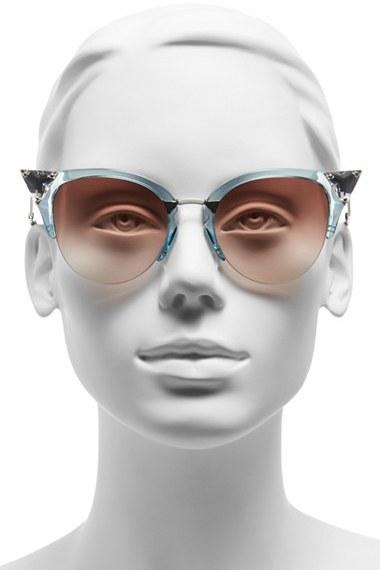 Women's Fendi Crystal 52Mm Tipped Cat Eye Sunglasses - Havana Gold Vio/ G5 4