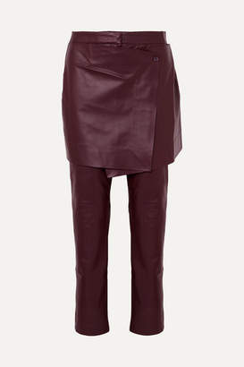 Sies Marjan Judy Layered Leather Slim-leg Pants - Burgundy