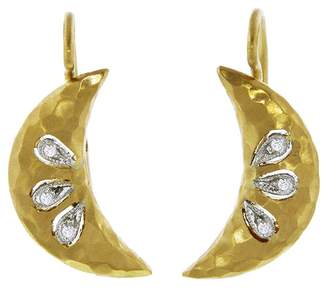 Cathy Waterman Diamond Crescent Moon Earrings - Yellow Gold